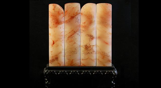 巴林玻璃地雞血-薄意牡丹貓方章