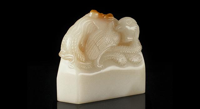 壽山石巧色老性白芙蓉-鳳凰含芝鈕日形章