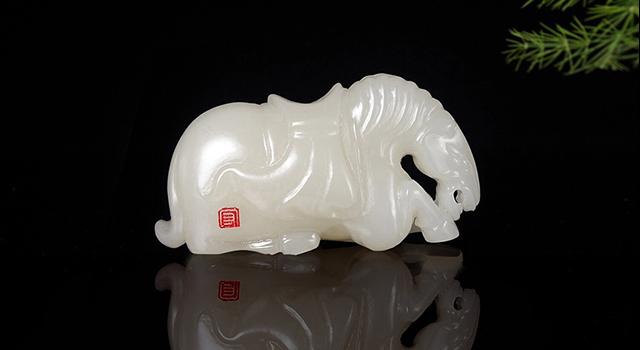 禾田白玉籽料-唐戰馬手件