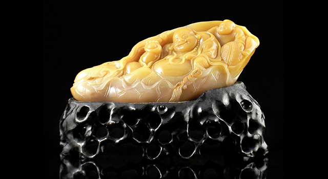 (意者私)壽山石蛇匏石-布袋彌勒佛如意童子擺件