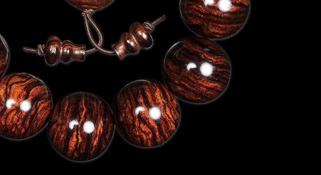 黃花梨虎皮紋-玻璃底手串