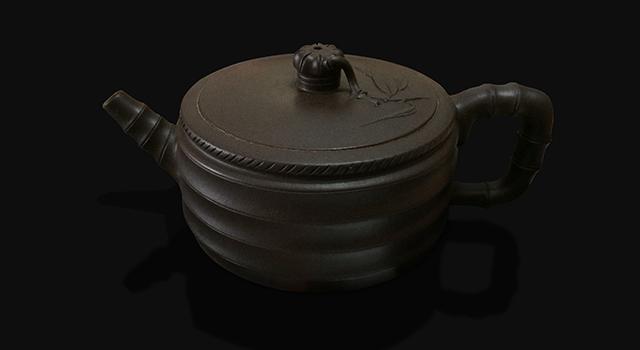 (已讓)紫砂鐵星土-中品竹段紋身壺