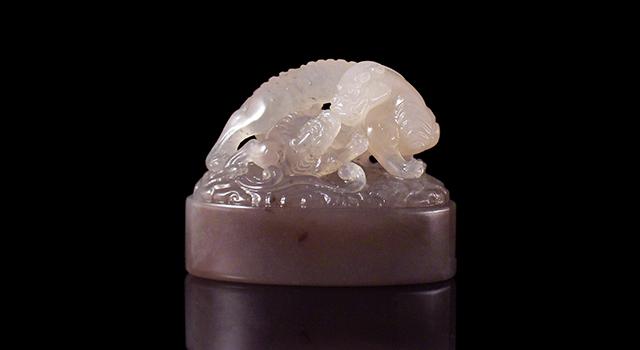 (已讓)壽山石坑頭牛角凍-雙螭踏雲鈕橢圓章