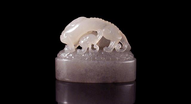 壽山石坑頭牛角凍-雙螭踏雲鈕橢圓章