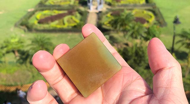 壽山石月尾綠-雙螭钮艾葉綠正方章