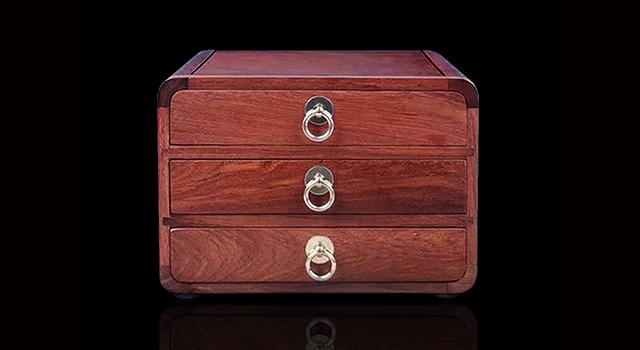 (意者私)緬甸花梨木-三層銅環拉屜茶盒